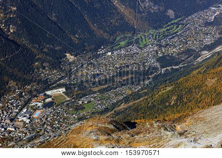 Aerial view of Chamonix valley from Aiguille du Midi, Haute Savoie, France