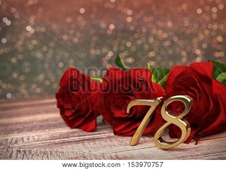 birthday concept with red roses on wooden desk. 3D render - seventy-eighth birthday. 78th