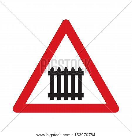 Traffic sign level crossing with barries ahead. Vector illustration.