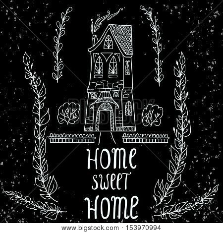 Home Sweet Home card. Sweet Home background with twigs on black background. Vector illustration