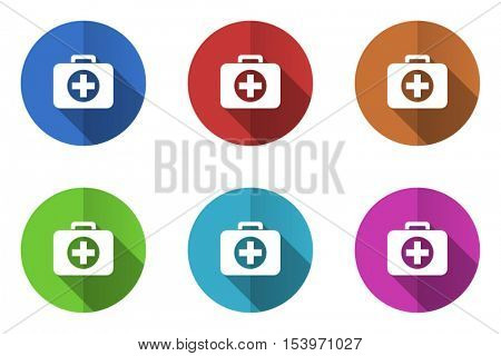 Flat design vector firt aid kit icons. Web and app buttons.