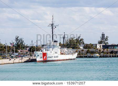 Coast guard ship and station on Key West Florida