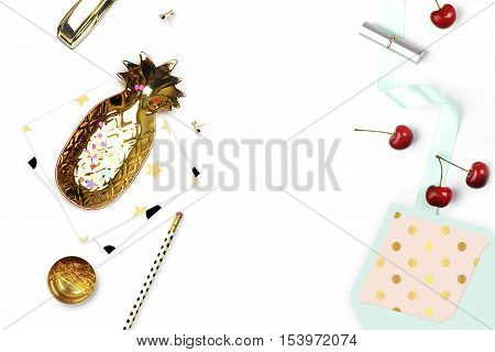 Table view. Gold items on the table top view. Background mockup. Flat lay