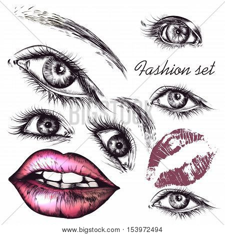 A collection or set of beautiful realistic female eyes and lips for design