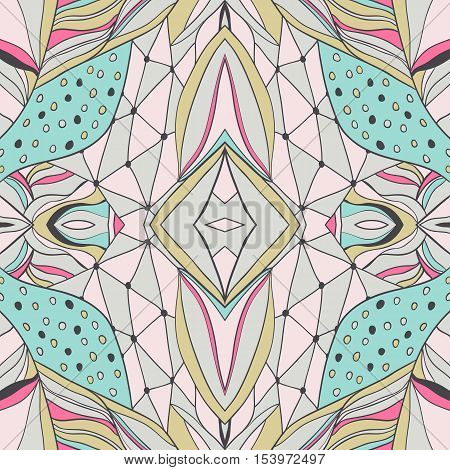 Traditional ornamental paisley bandanna. Hand drawn background with artistic pattern. Pastel colors. Seamless pattern can be used for  fills background