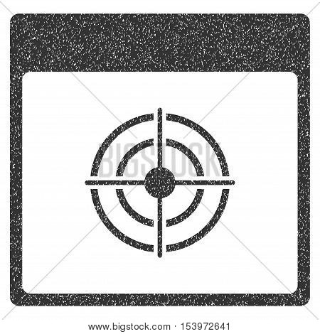 Bullseye Calendar Page grainy textured icon for overlay watermark stamps. Flat symbol with dirty texture. Dotted glyph gray ink rubber seal stamp with grunge design on a white background.