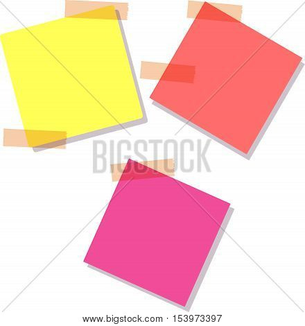 Set of different vector note papers. Sticky notes, isolated on white background