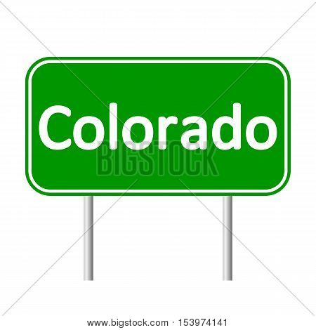 Colorado green road sign isolated on white background