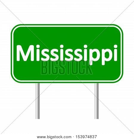 Mississippi green road sign isolated on white background