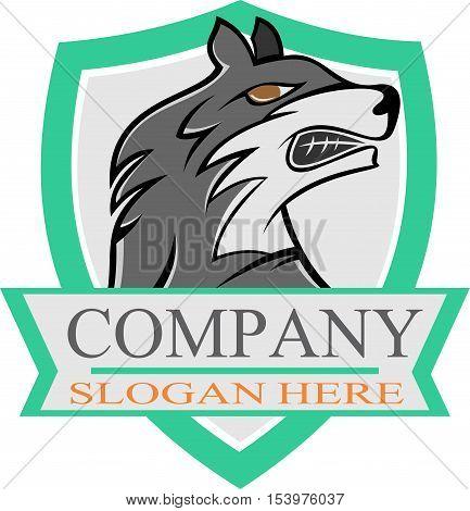 wolf on blues shield roaring stock logo