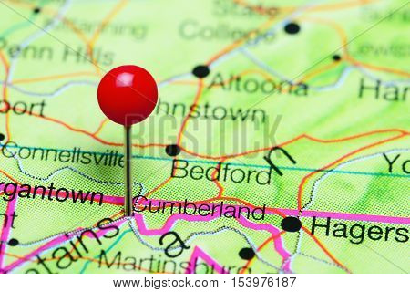 Cumberland pinned on a map of Maryland, USA