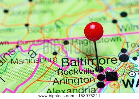 Rockville pinned on a map of Maryland, USA