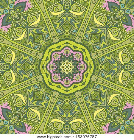 Vector seamless green st. Patrick day border design. Festive green floral garden plan mandala pattern