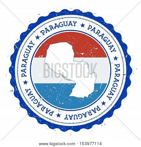 Paraguay Map And Flag In Vintage Rubber Stamp Of State Colours. Grungy Travel Stamp With Map And Fla
