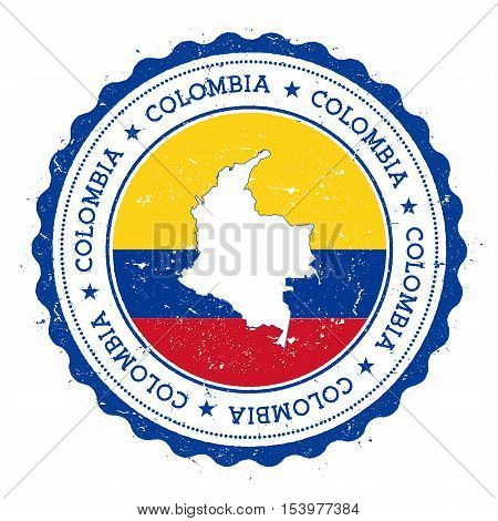 Colombia Map And Flag In Vintage Rubber Stamp Of State Colours. Grungy Travel Stamp With Map And Fla