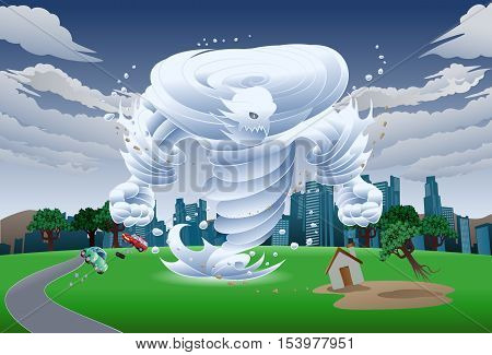 illustration of a wind tornado monster on isolate background