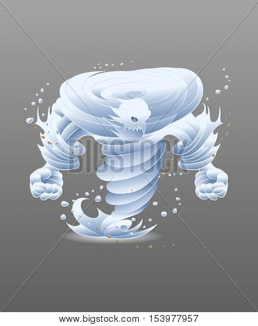 illustration of a wind monster on isolate background