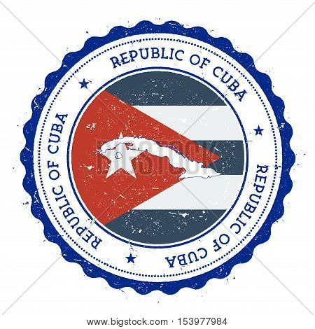 Cuba Map And Flag In Vintage Rubber Stamp Of State Colours. Grungy Travel Stamp With Map And Flag Of