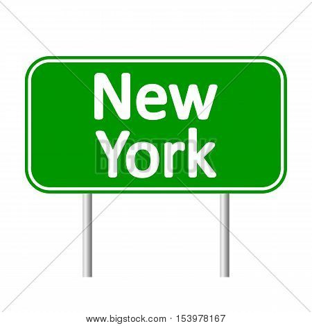 New York green road sign isolated on white background