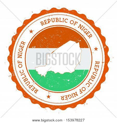 Niger Map And Flag In Vintage Rubber Stamp Of State Colours. Grungy Travel Stamp With Map And Flag O