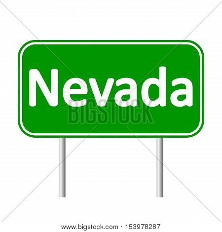 Nevada green road sign isolated on white background