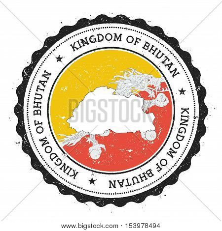 Bhutan Map And Flag In Vintage Rubber Stamp Of State Colours. Grungy Travel Stamp With Map And Flag