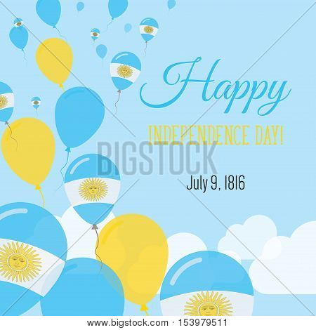 Independence Day Flat Greeting Card. Argentina Independence Day. Argentinean Flag Balloons Patriotic