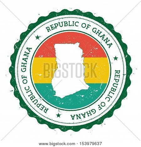 Ghana Map And Flag In Vintage Rubber Stamp Of State Colours. Grungy Travel Stamp With Map And Flag O