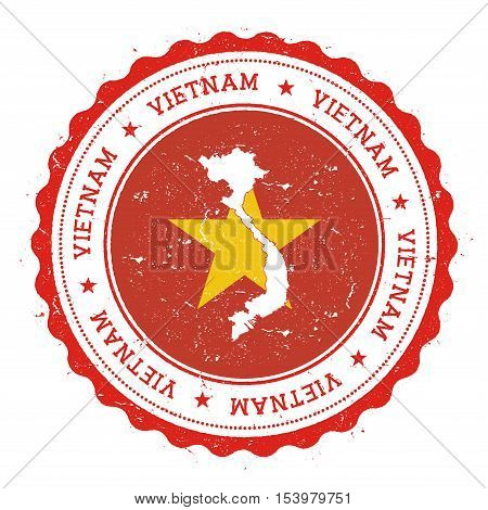 Vietnam Map And Flag In Vintage Rubber Stamp Of State Colours. Grungy Travel Stamp With Map And Flag