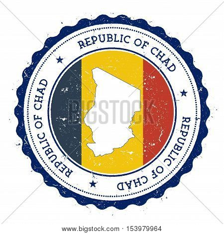 Chad Map And Flag In Vintage Rubber Stamp Of State Colours. Grungy Travel Stamp With Map And Flag Of