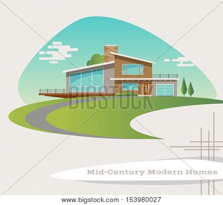 mid century modern style house. vector illustration