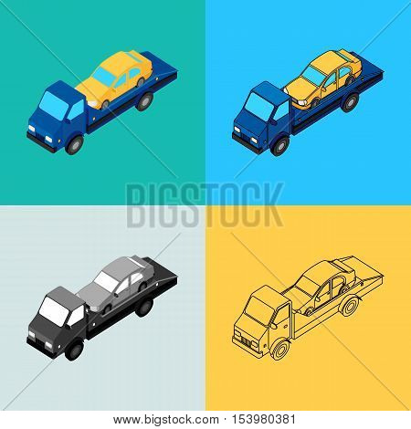 vector illustration. Set of icons of the tow truck of different styles - contour monochrome colorful. Isometric 3D.