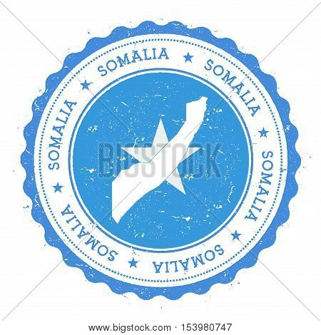 Somalia Map And Flag In Vintage Rubber Stamp Of State Colours. Grungy Travel Stamp With Map And Flag