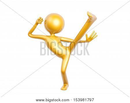 golden kungfu guy kick up pose isolated on white background 3d illustration