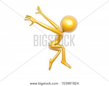 golden guy dance fly isolated on white background 3d illustration