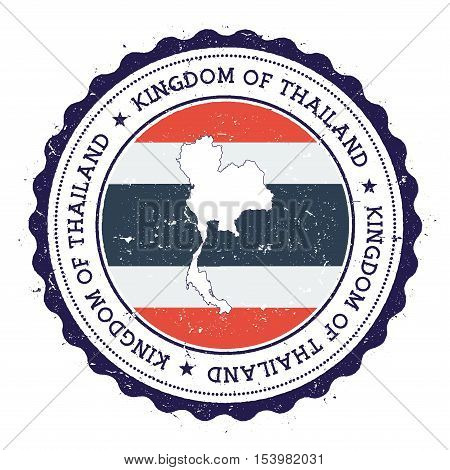 Thailand Map And Flag In Vintage Rubber Stamp Of State Colours. Grungy Travel Stamp With Map And Fla