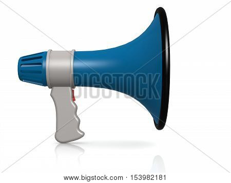 Blue Megaphone Isolated On White