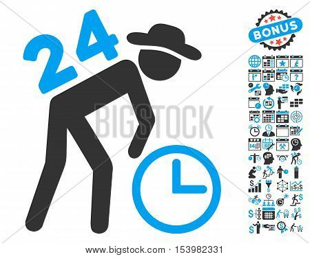 Around the Clock Working Gentleman icon with bonus calendar and time management pictograph collection. Glyph illustration style is flat iconic bicolor symbols blue and gray colors white background.