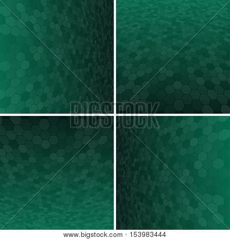 Set Abstract Honeycomb Halftone Effect Vector Background. Perspective Halftone Vector Background. Vector Background with Copy-Space. Green Perspective Background. Vector illustration for Web Design.