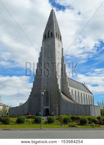 REYKJAVIK, ICELAND - JULY 3, 2016: Hallgrimskirkja Lutheran parish church in Reykjavik, Iceland. At 73 meters, it is the largest church in Iceland and among the tallest structures in Iceland