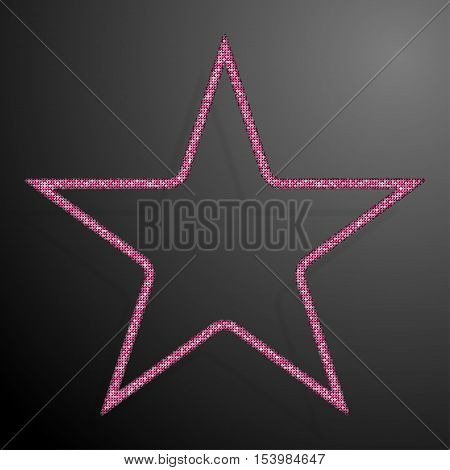 Frame made of Pink sequins in the form star. Mosaic sequins glitter sparkle stars.