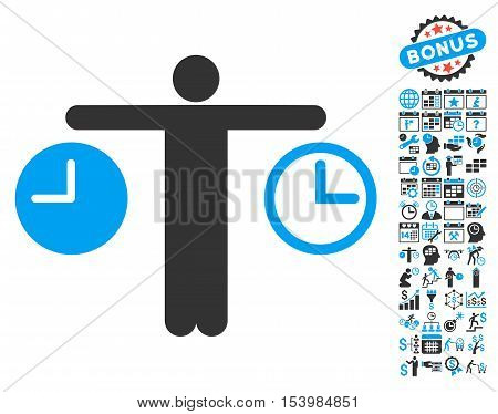 Person Compare Clocks pictograph with bonus calendar and time management pictures. Glyph illustration style is flat iconic bicolor symbols, blue and gray colors, white background.
