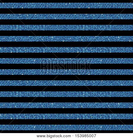 The parallel horizontal lines on the black background. Background made of blue sequins. Mosaic, sequins, glitter, sparkle, stars. Parallel.