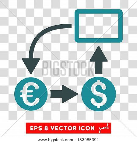 Cashflow Euro Exchange vector icon. Image style is a flat soft blue iconic symbol.