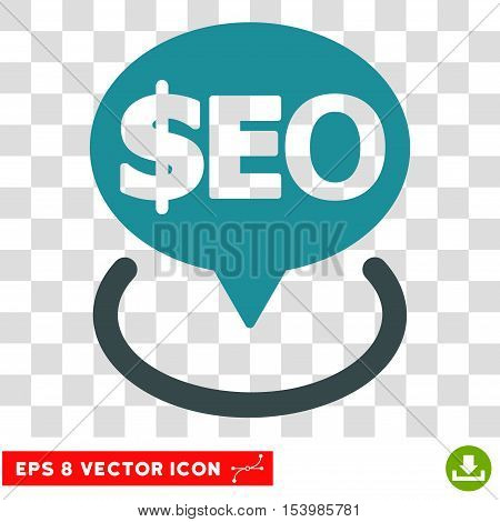 Geotargeting Seo vector icon. Image style is a flat soft blue pictograph symbol. poster