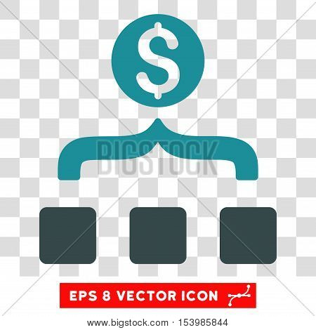 Money Aggregator vector icon. Image style is a flat soft blue icon symbol.