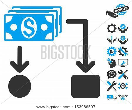 Cashflow icon with bonus tools clip art. Glyph illustration style is flat iconic bicolor symbols, blue and gray colors, white background.