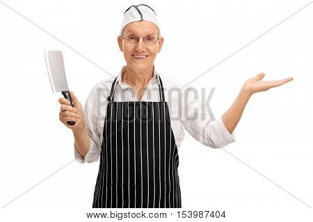 Mature butcher holding a cleaver and gesturing with his hand isolated on white background