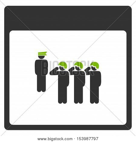 Army Squad Calendar Page glyph pictogram. Style is flat graphic bicolor symbol eco green and gray colors white background.