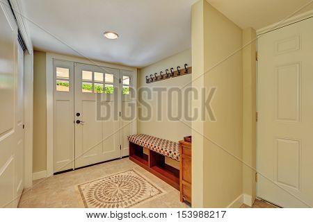 Entryway In Light Tones With Mosaic Tile Floor